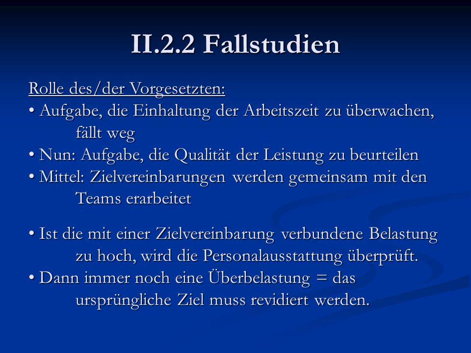 II.2.2 Fallstudien Rolle des/der Vorgesetzten: