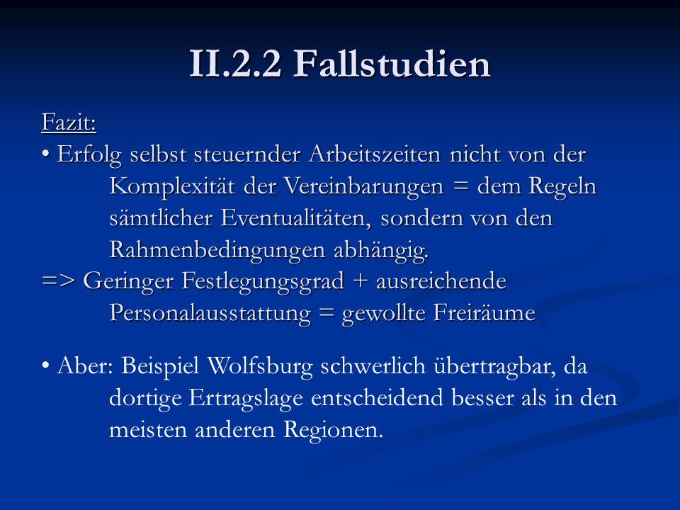 II.2.2 Fallstudien Fazit: