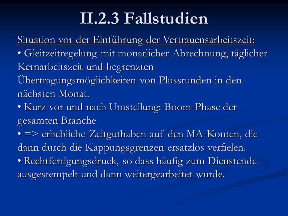 II.2.3 Fallstudien Situation vor der Einführung der Vertrauensarbeitszeit: