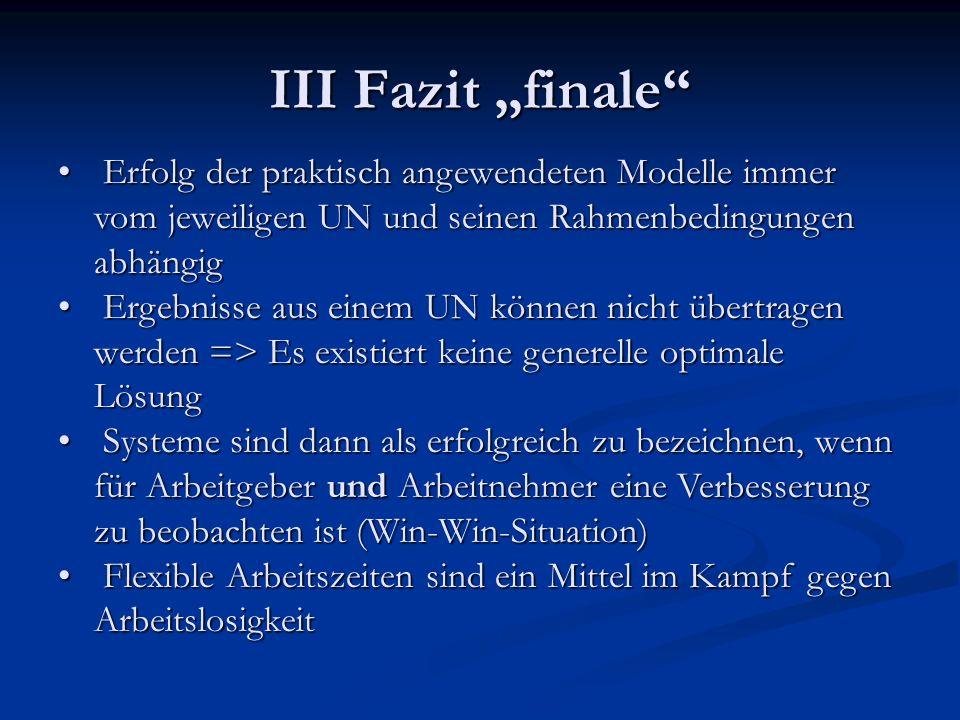 """III Fazit """"finale Erfolg der praktisch angewendeten Modelle immer vom jeweiligen UN und seinen Rahmenbedingungen abhängig."""