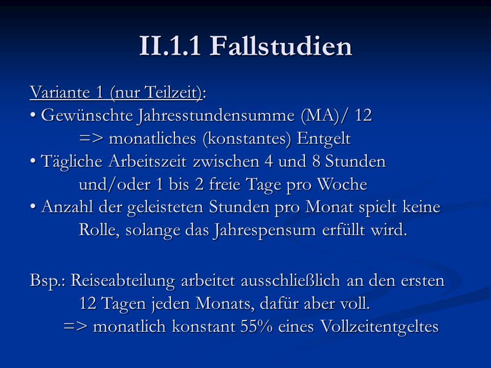 II.1.1 Fallstudien Variante 1 (nur Teilzeit):