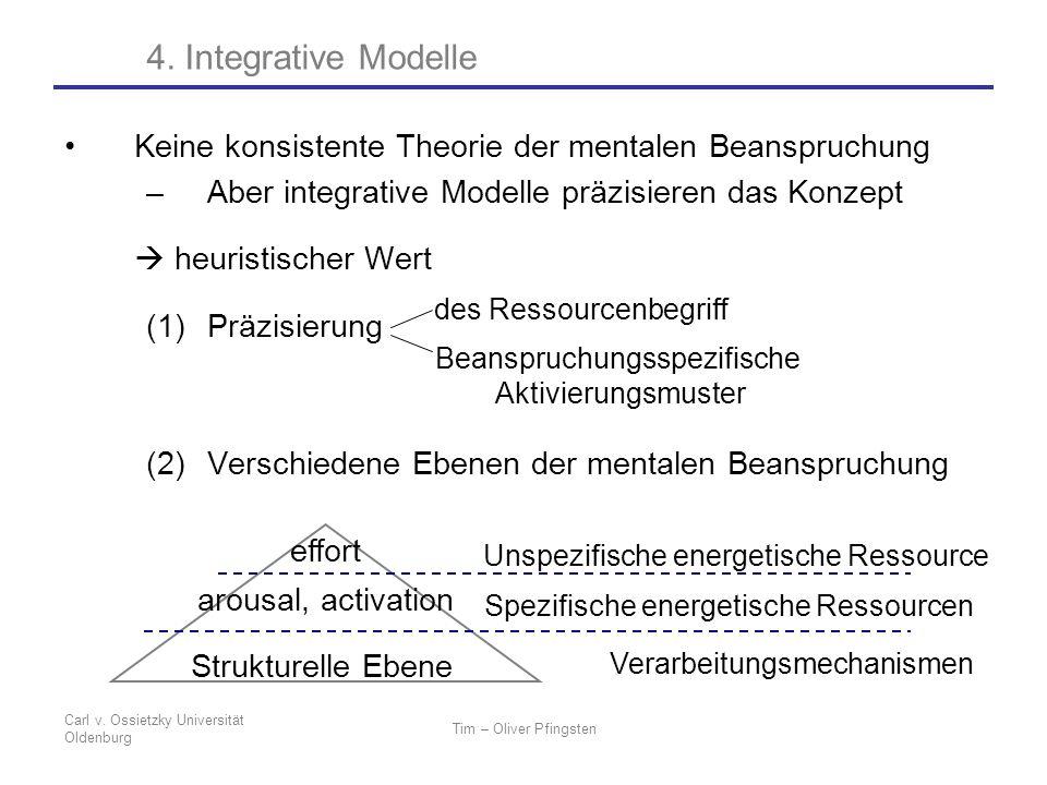 4. Integrative Modelle Keine konsistente Theorie der mentalen Beanspruchung. Aber integrative Modelle präzisieren das Konzept.