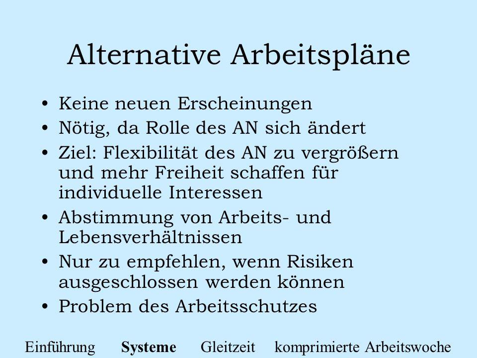 Alternative Arbeitspläne