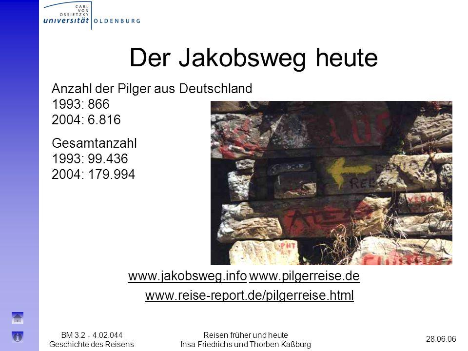 Der Jakobsweg heute Anzahl der Pilger aus Deutschland 1993: 866 2004: 6.816. Gesamtanzahl 1993: 99.436 2004: 179.994.