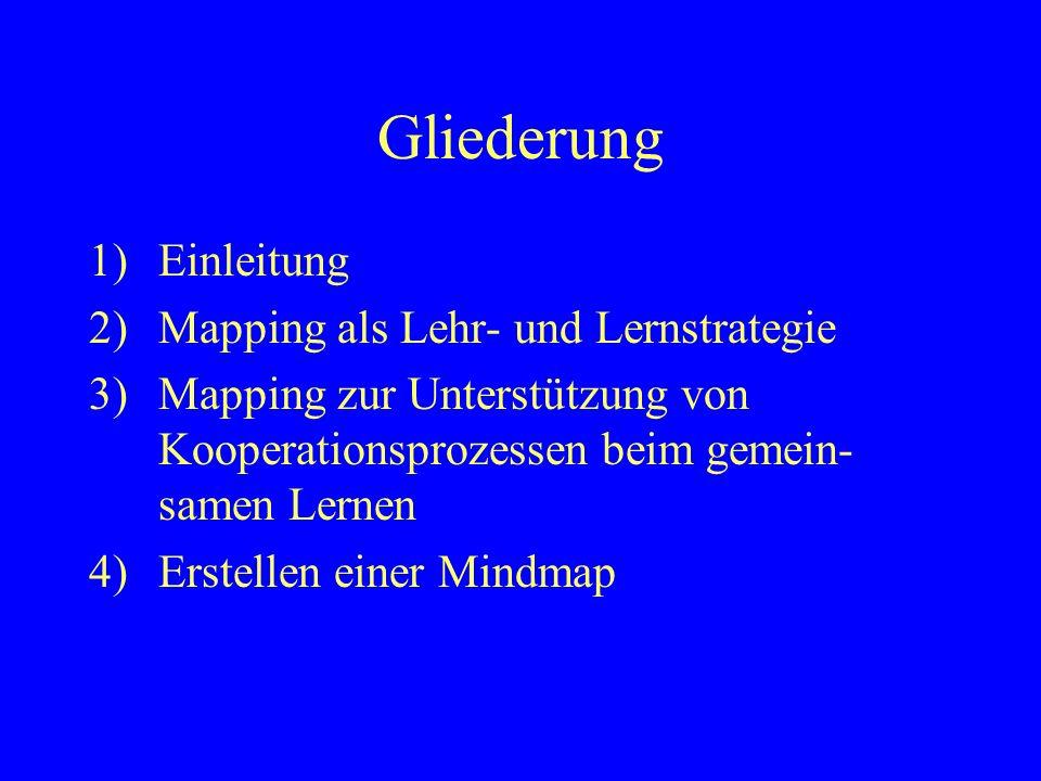 Gliederung Einleitung Mapping als Lehr- und Lernstrategie