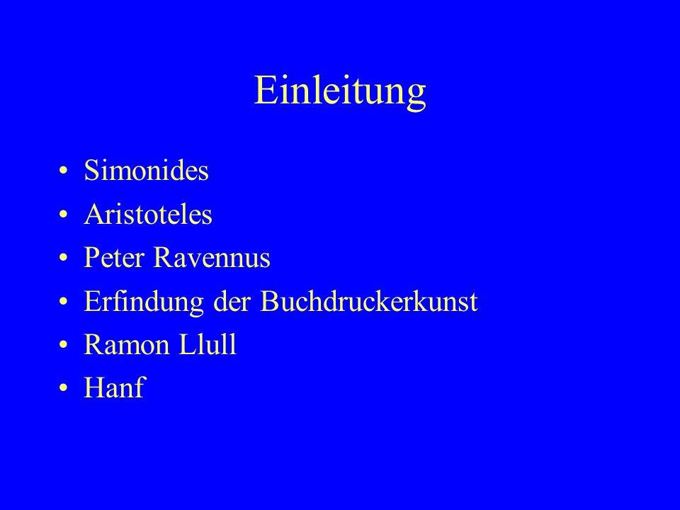 Einleitung Simonides Aristoteles Peter Ravennus
