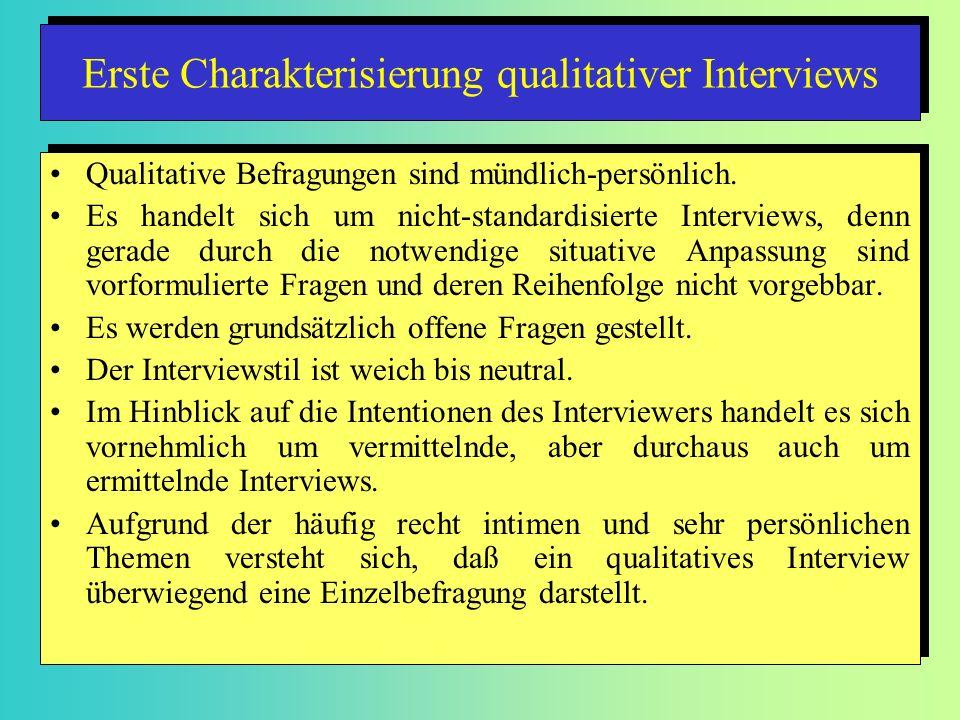 Erste Charakterisierung qualitativer Interviews