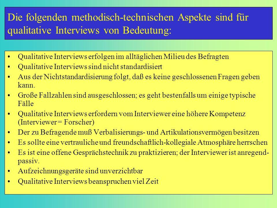 Die folgenden methodisch-technischen Aspekte sind für qualitative Interviews von Bedeutung: