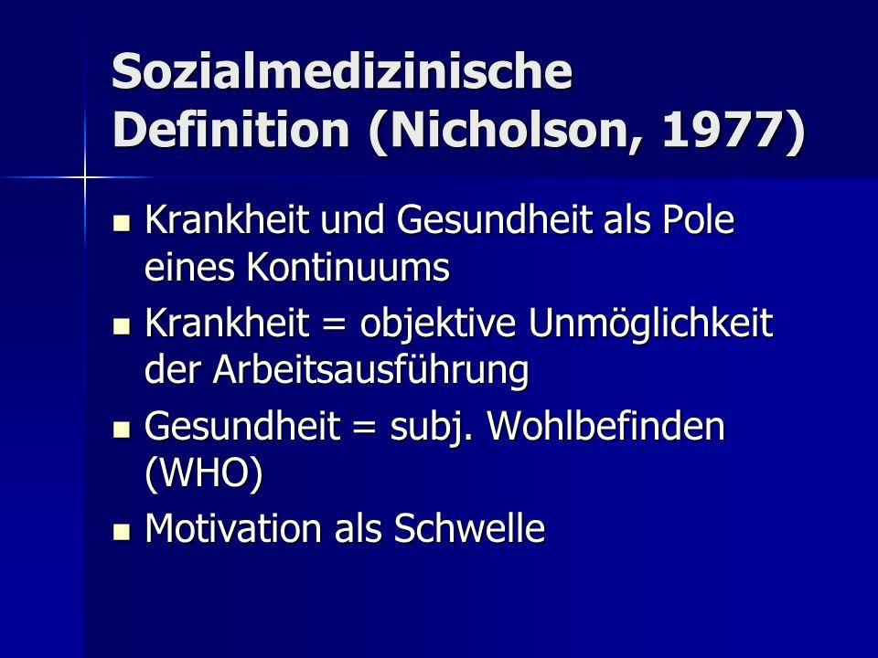 Sozialmedizinische Definition (Nicholson, 1977)