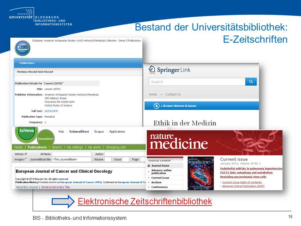 Bestand der Universitätsbibliothek: E-Zeitschriften