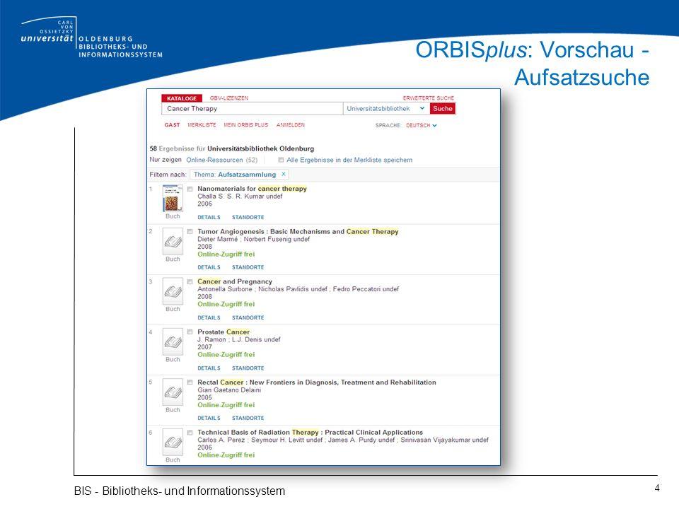 ORBISplus: Vorschau - Aufsatzsuche