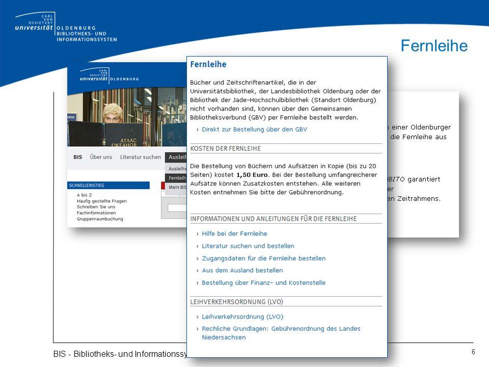Fernleihe BIS - Bibliotheks- und Informationssystem