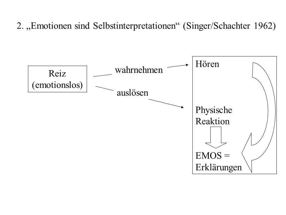 """2. """"Emotionen sind Selbstinterpretationen (Singer/Schachter 1962)"""