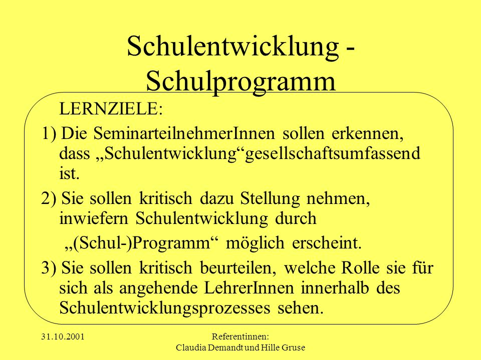 Schulentwicklung - Schulprogramm