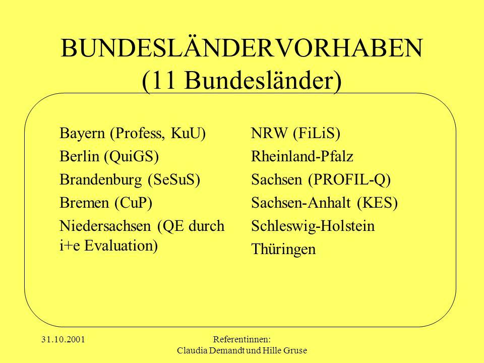 BUNDESLÄNDERVORHABEN (11 Bundesländer)