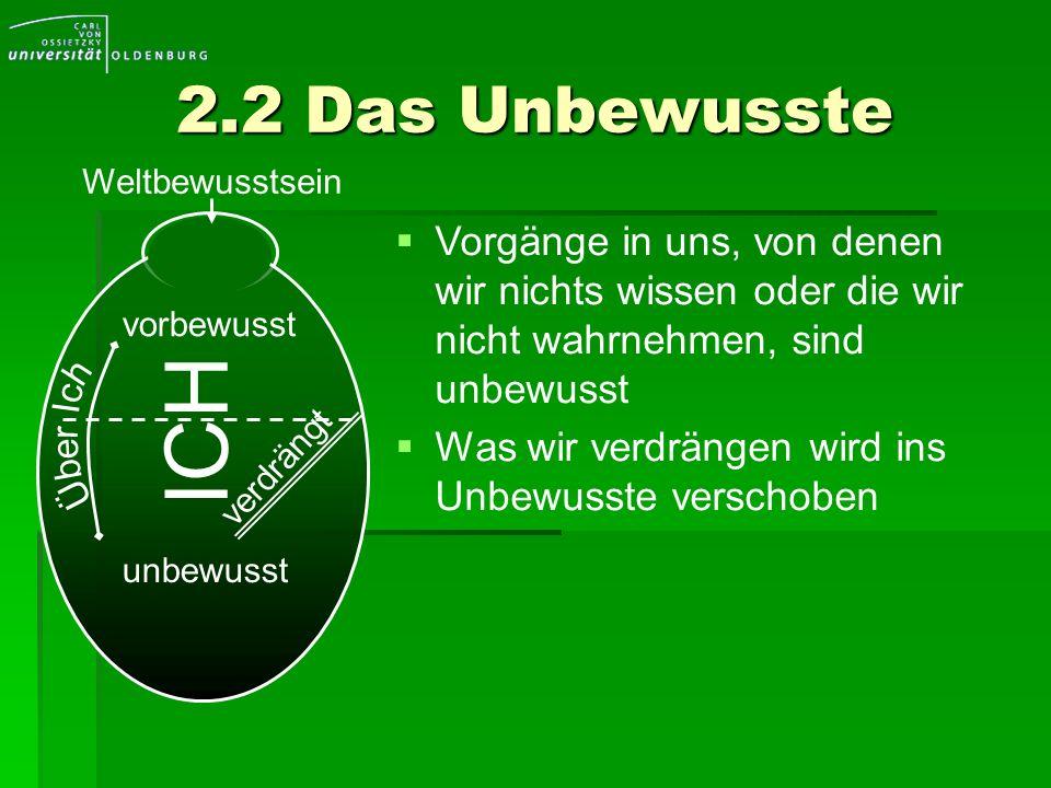 2.2 Das UnbewussteWeltbewusstsein. Vorgänge in uns, von denen wir nichts wissen oder die wir nicht wahrnehmen, sind unbewusst.