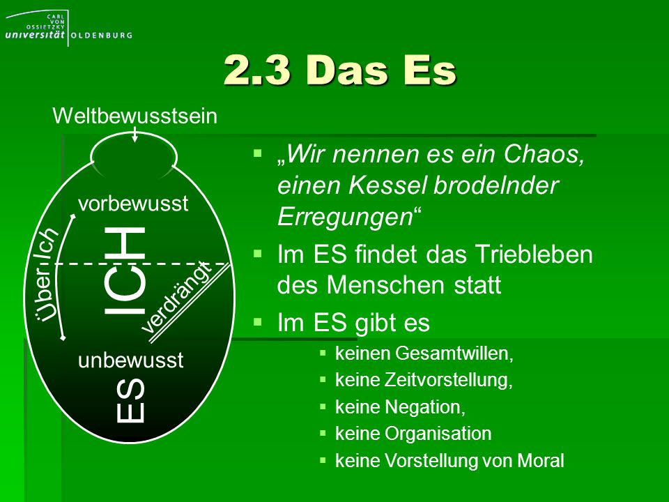 """2.3 Das Es Weltbewusstsein. """"Wir nennen es ein Chaos, einen Kessel brodelnder Erregungen Im ES findet das Triebleben des Menschen statt."""