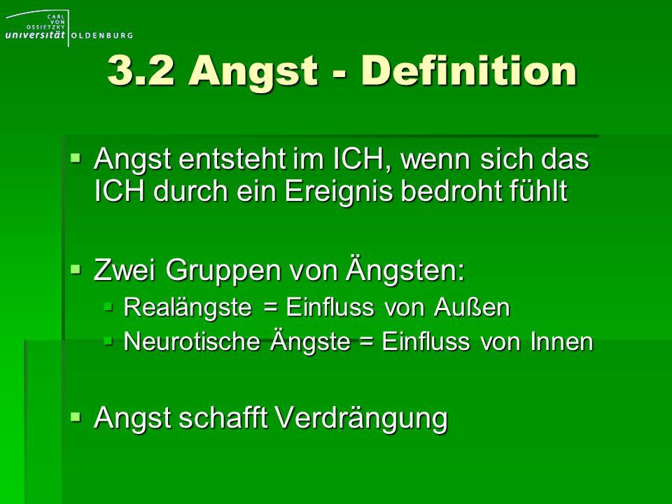3.2 Angst - DefinitionAngst entsteht im ICH, wenn sich das ICH durch ein Ereignis bedroht fühlt. Zwei Gruppen von Ängsten: