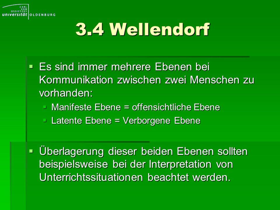 3.4 Wellendorf Es sind immer mehrere Ebenen bei Kommunikation zwischen zwei Menschen zu vorhanden: Manifeste Ebene = offensichtliche Ebene.