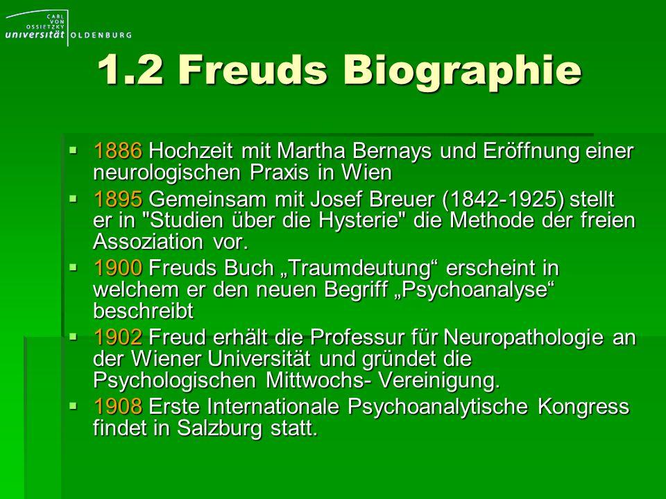 1.2 Freuds Biographie 1886 Hochzeit mit Martha Bernays und Eröffnung einer neurologischen Praxis in Wien.