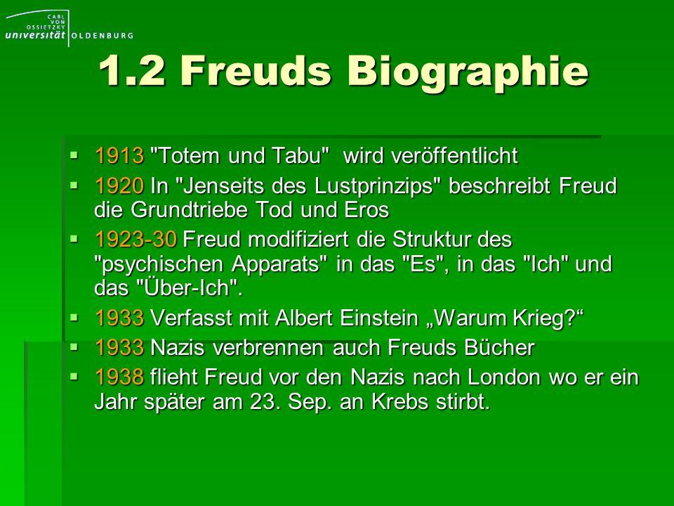 1.2 Freuds Biographie 1913 Totem und Tabu wird veröffentlicht