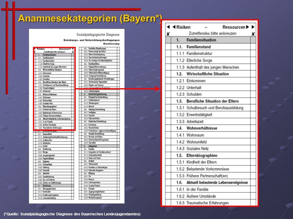 Anamnesekategorien (Bayern*)