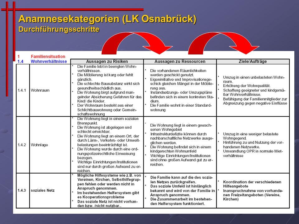 Anamnesekategorien (LK Osnabrück) Durchführungsschritte