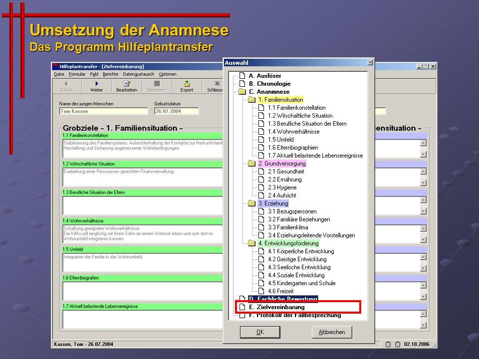 Umsetzung der Anamnese Das Programm Hilfeplantransfer