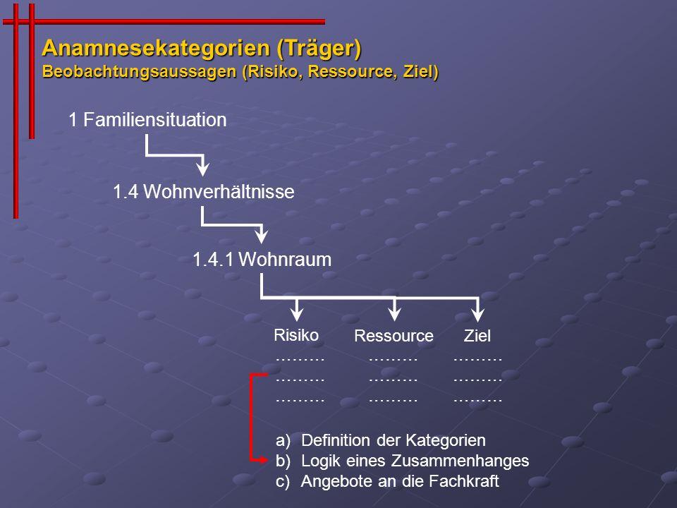 Anamnesekategorien (Träger) Beobachtungsaussagen (Risiko, Ressource, Ziel)