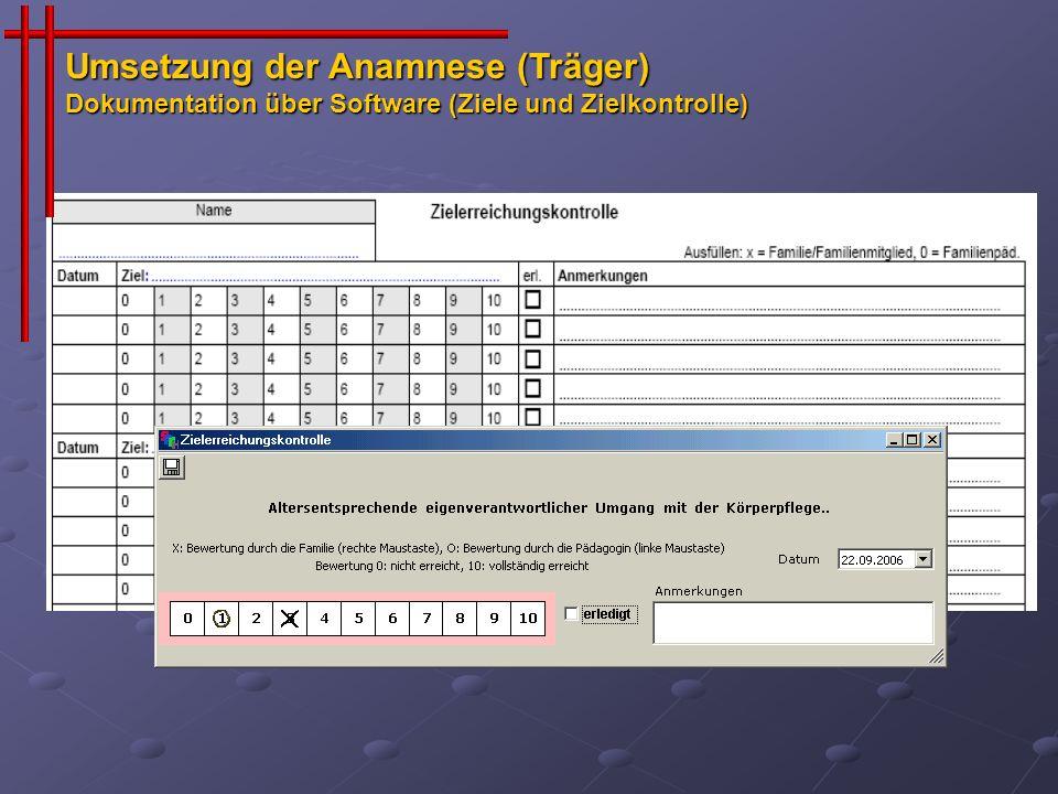 Umsetzung der Anamnese (Träger) Dokumentation über Software (Ziele und Zielkontrolle)