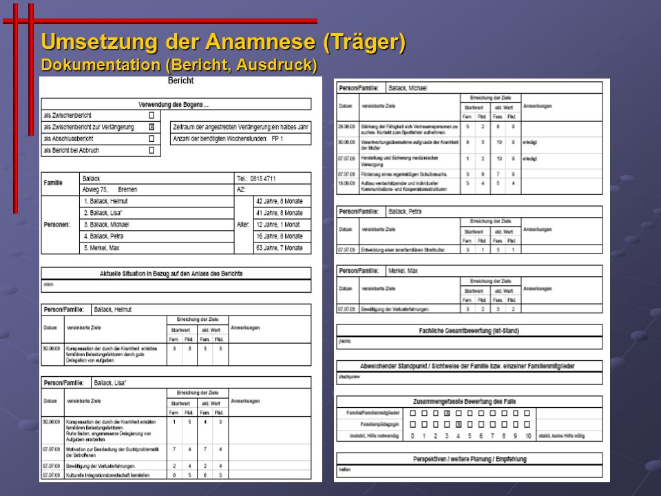 Umsetzung der Anamnese (Träger) Dokumentation (Bericht, Ausdruck)