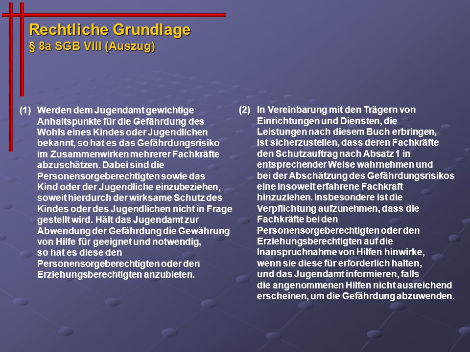 Rechtliche Grundlage § 8a SGB VIII (Auszug)