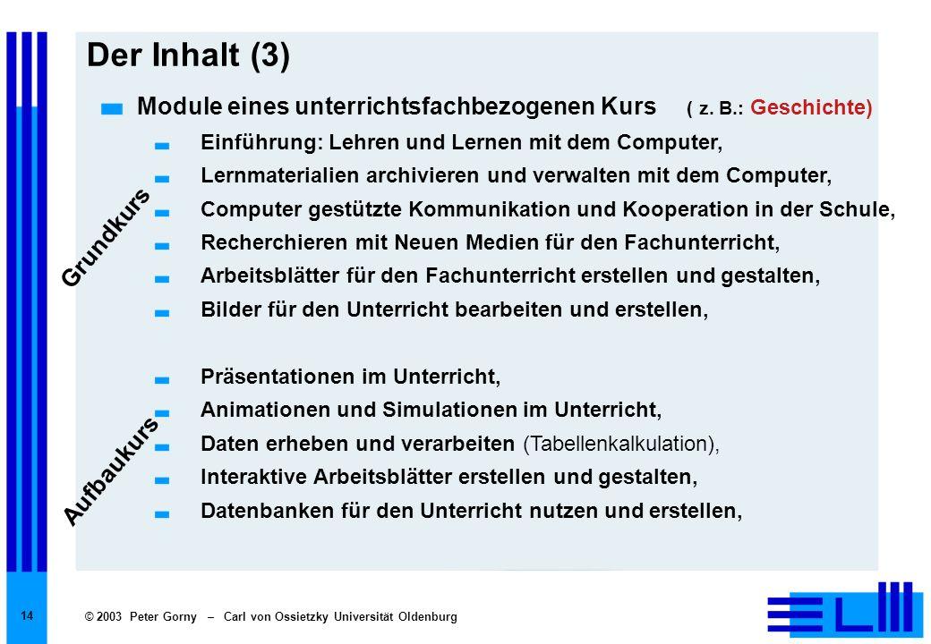 Der Inhalt (3)Module eines unterrichtsfachbezogenen Kurs ( z. B.: Geschichte) Einführung: Lehren und Lernen mit dem Computer,