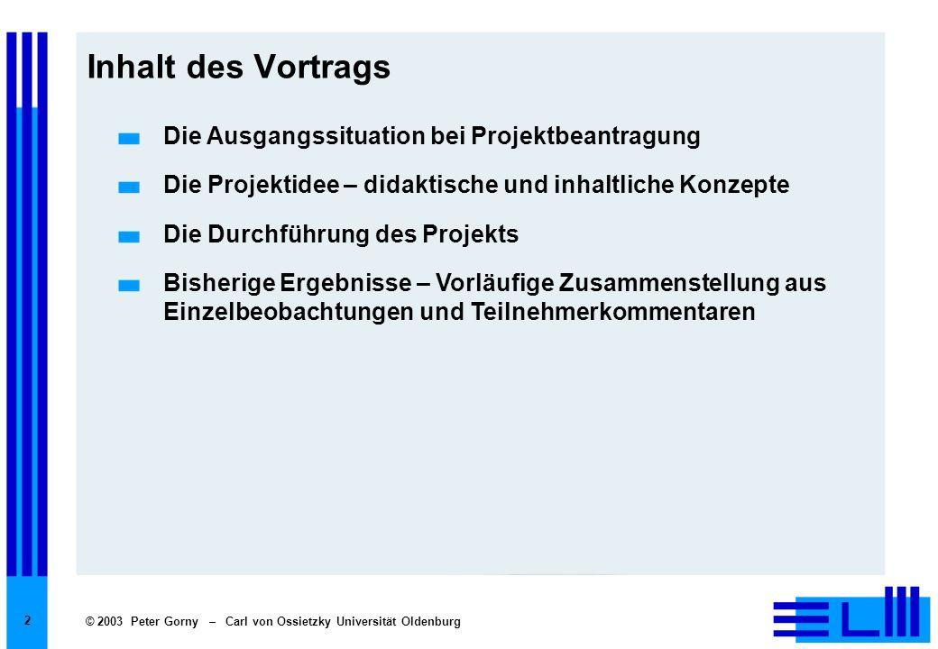 Inhalt des Vortrags Die Ausgangssituation bei Projektbeantragung