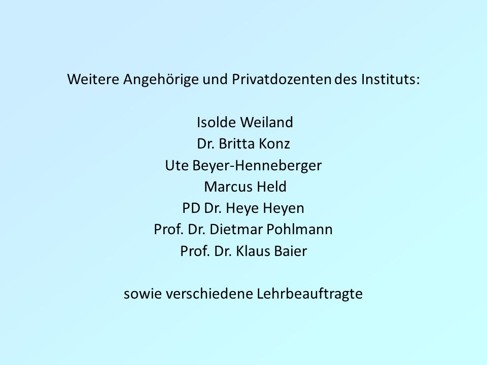 Weitere Angehörige und Privatdozenten des Instituts: Isolde Weiland