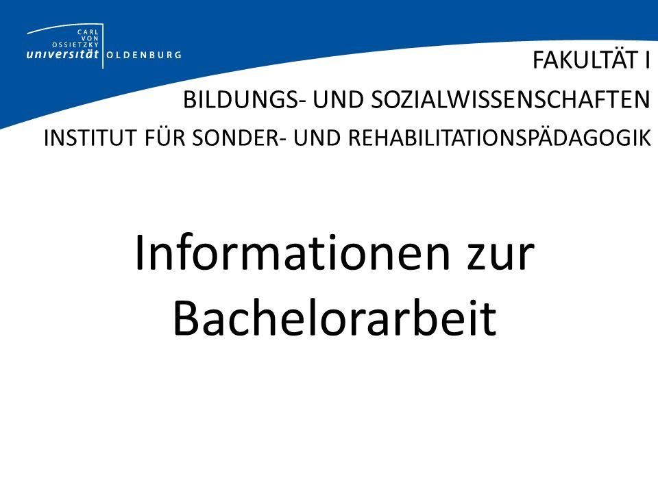Informationen zur Bachelorarbeit