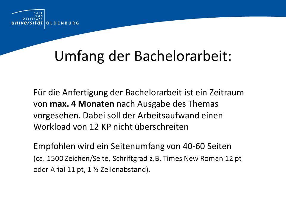 Umfang der Bachelorarbeit: