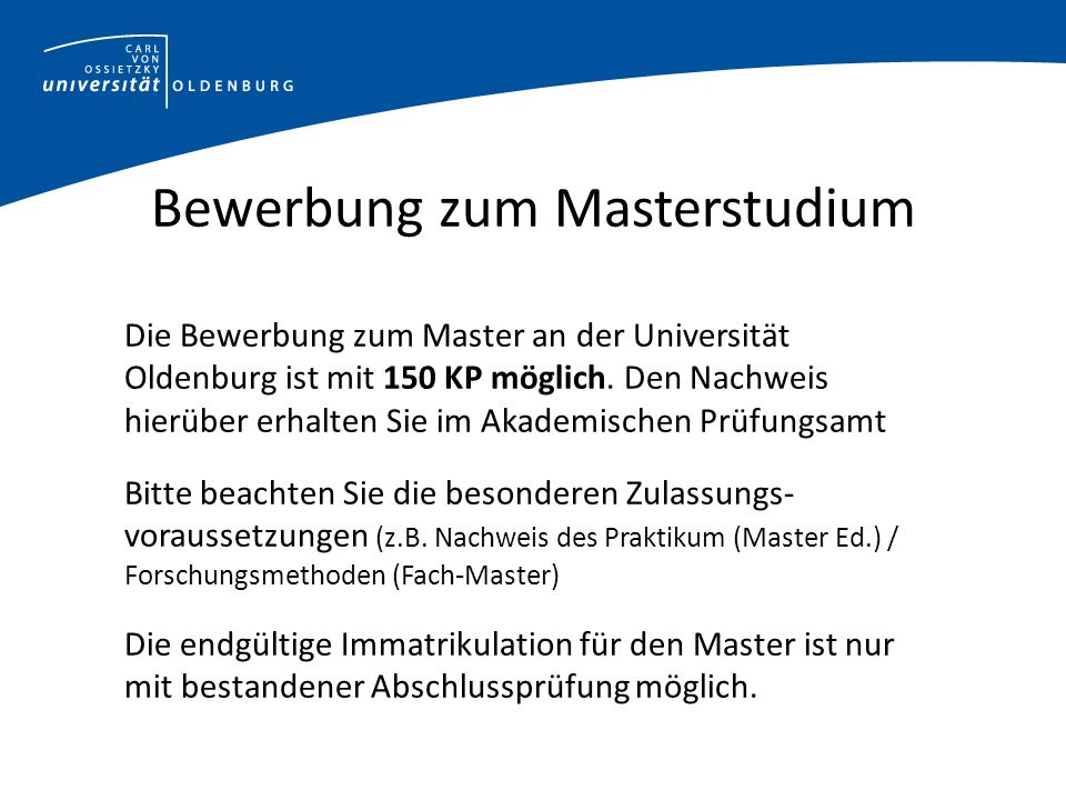 Bewerbung zum Masterstudium