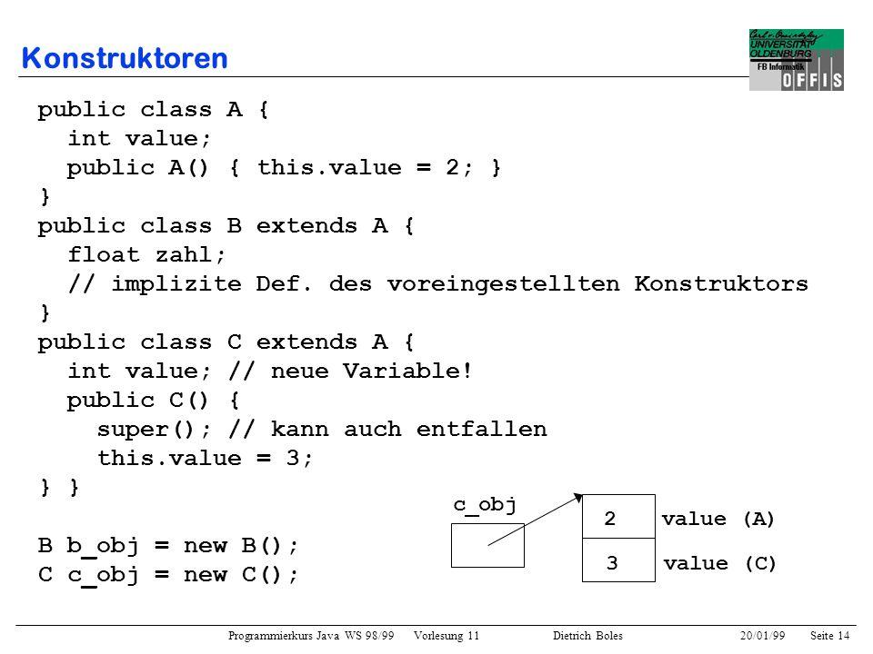 Konstruktoren public class A { int value;