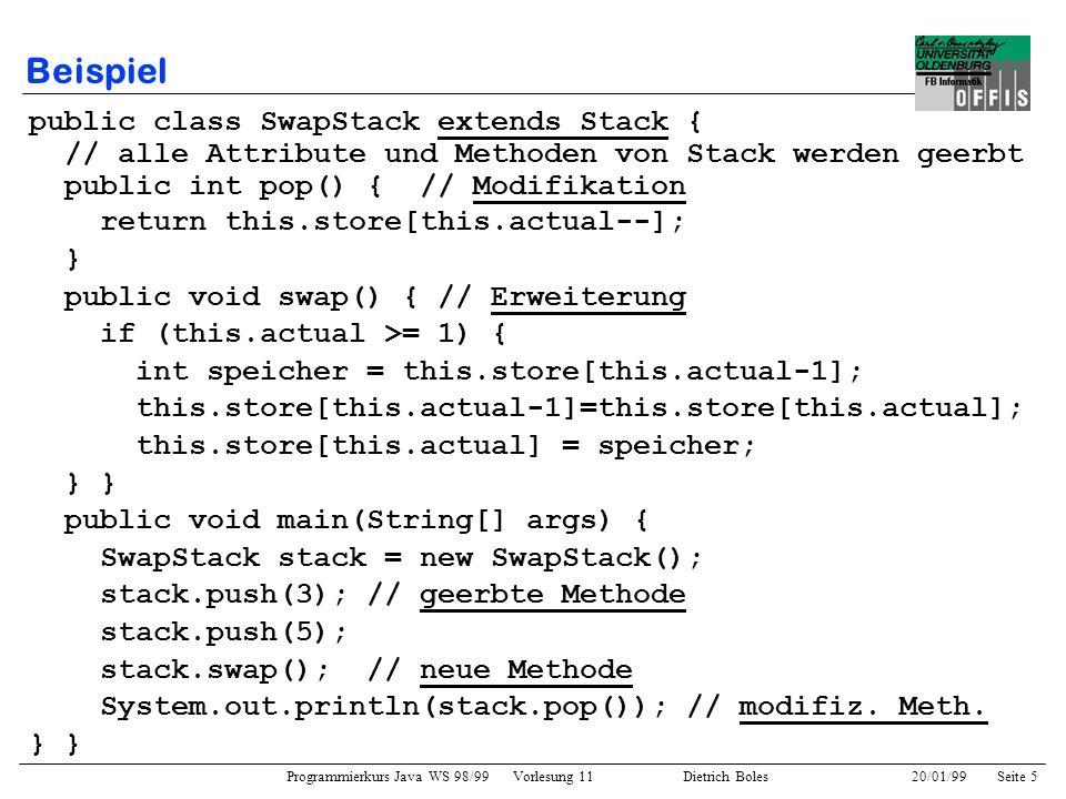 Beispiel public class SwapStack extends Stack {