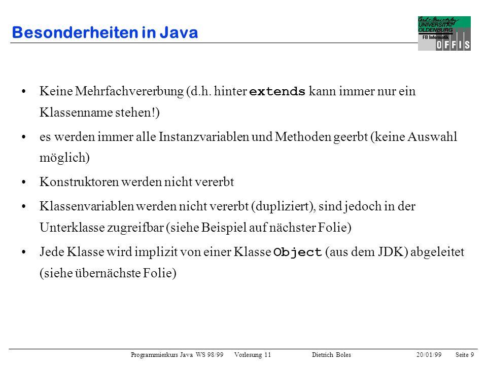 Besonderheiten in Java