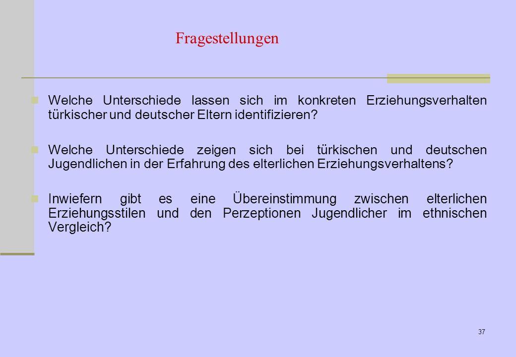 27.03.2017 Fragestellungen. Welche Unterschiede lassen sich im konkreten Erziehungsverhalten türkischer und deutscher Eltern identifizieren