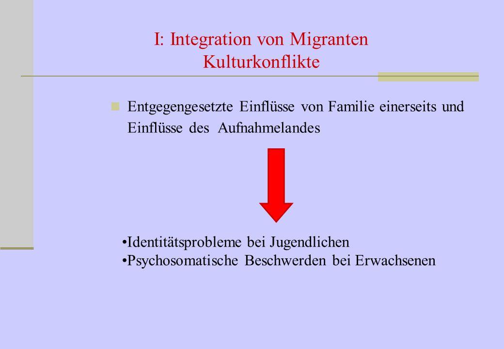 I: Integration von Migranten Kulturkonflikte