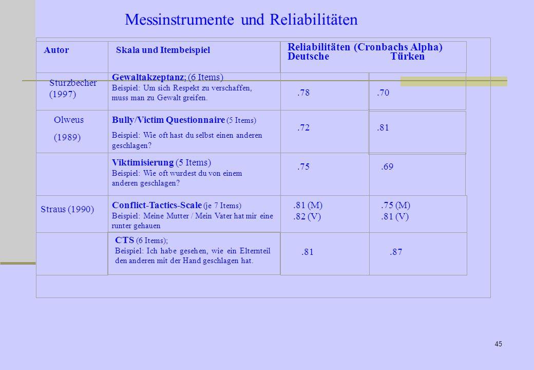 Messinstrumente und Reliabilitäten