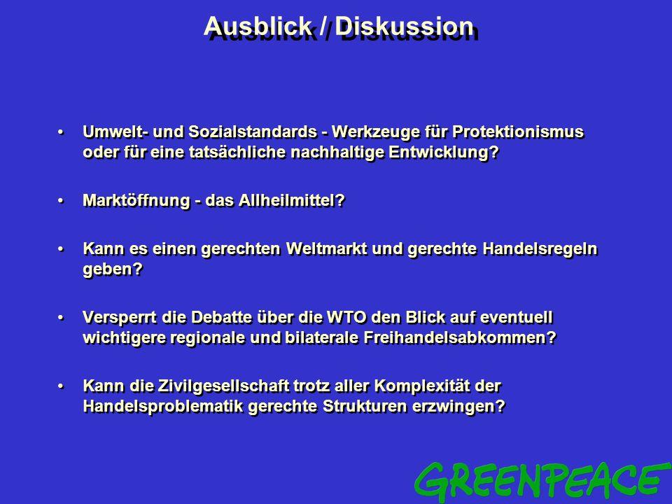 Ausblick / Diskussion Umwelt- und Sozialstandards - Werkzeuge für Protektionismus oder für eine tatsächliche nachhaltige Entwicklung