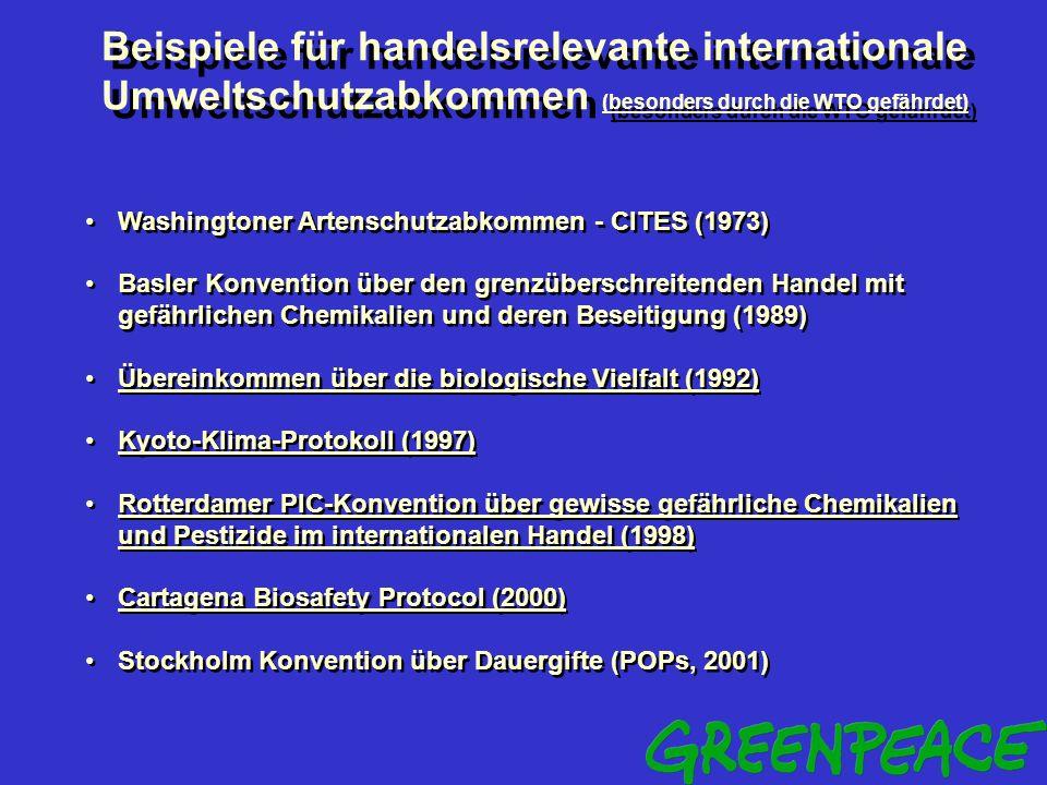 Beispiele für handelsrelevante internationale Umweltschutzabkommen (besonders durch die WTO gefährdet)