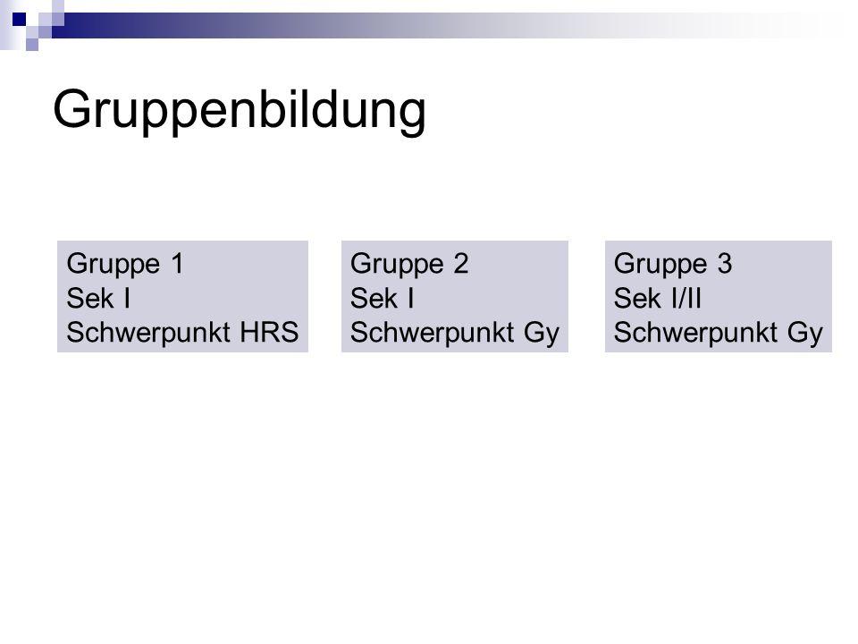 Gruppenbildung Gruppe 1 Sek I Schwerpunkt HRS Gruppe 2 Sek I