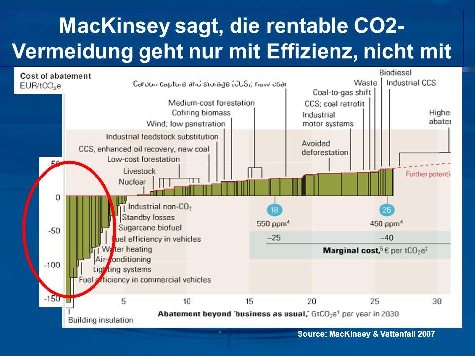 MacKinsey sagt, die rentable CO2-Vermeidung geht nur mit Effizienz, nicht mit erneuerbaren Energien