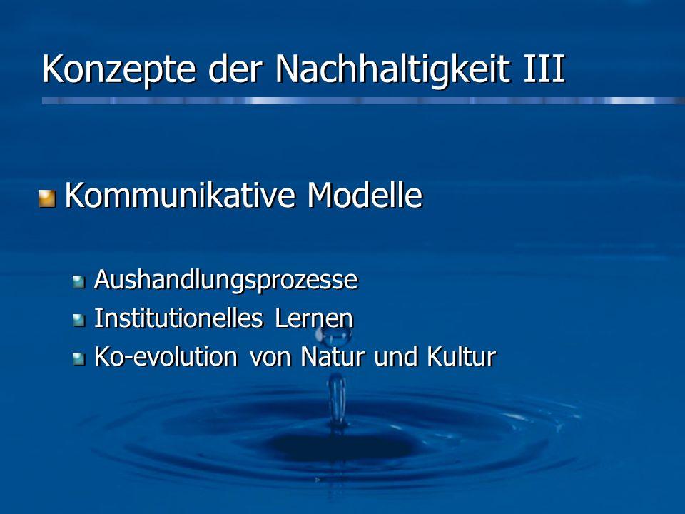 Konzepte der Nachhaltigkeit III