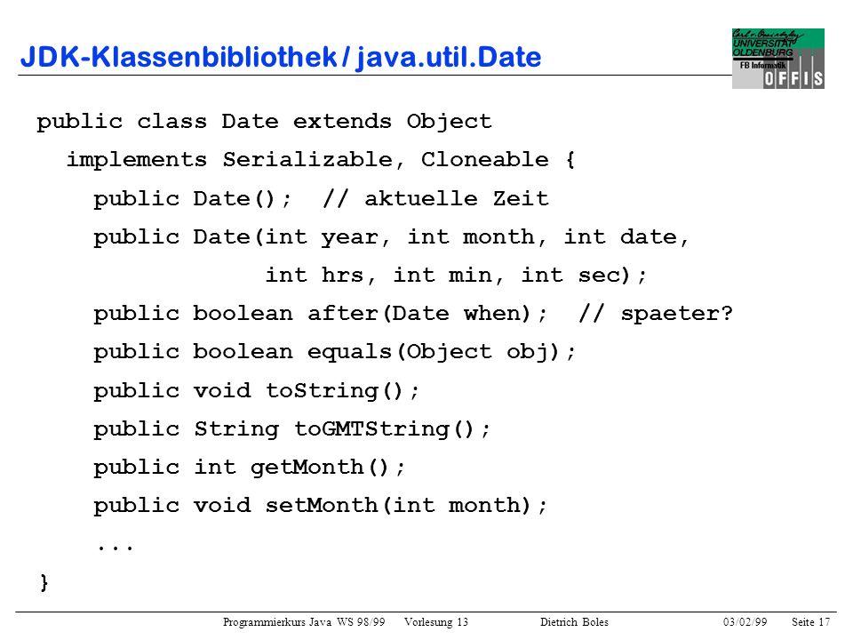 JDK-Klassenbibliothek / java.util.Date
